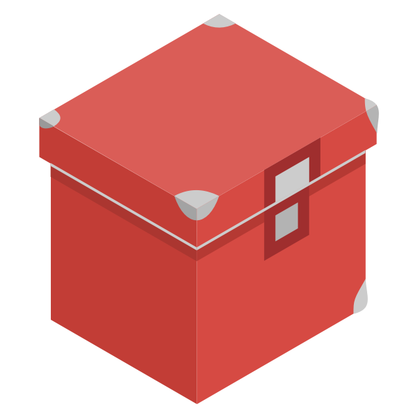 Vector image of red storage box with lid