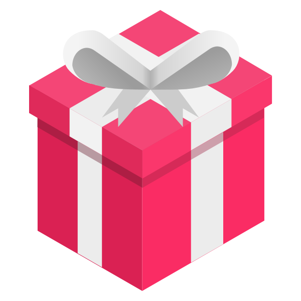 Vector clip art of pink gift box with a white ribbon
