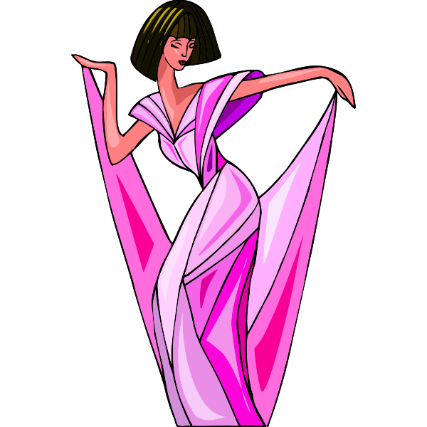 Posing in pink dress