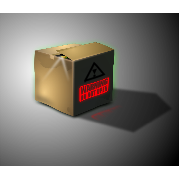 Vector illustration of box with do not open warning sign on it