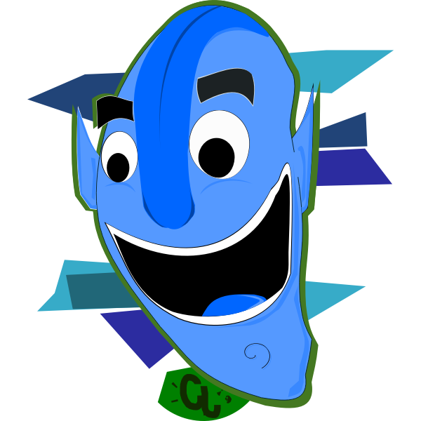 Vector clip art of large blue head character