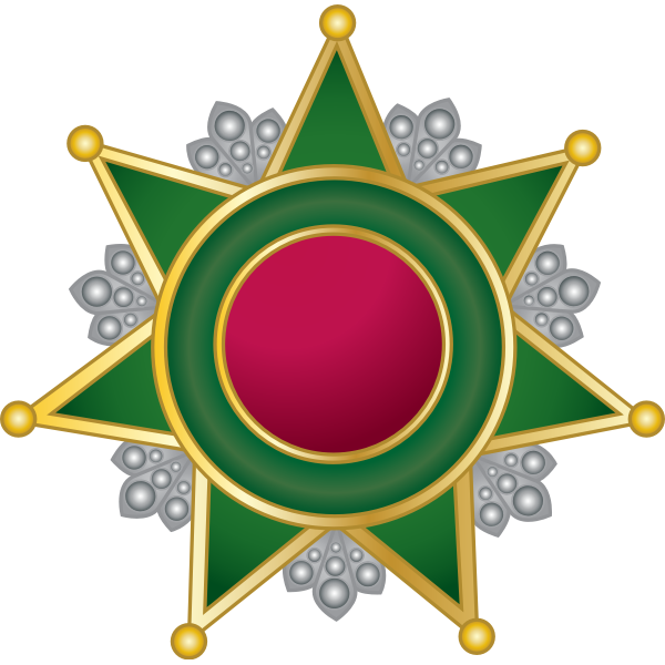 Decorative emblem with a star