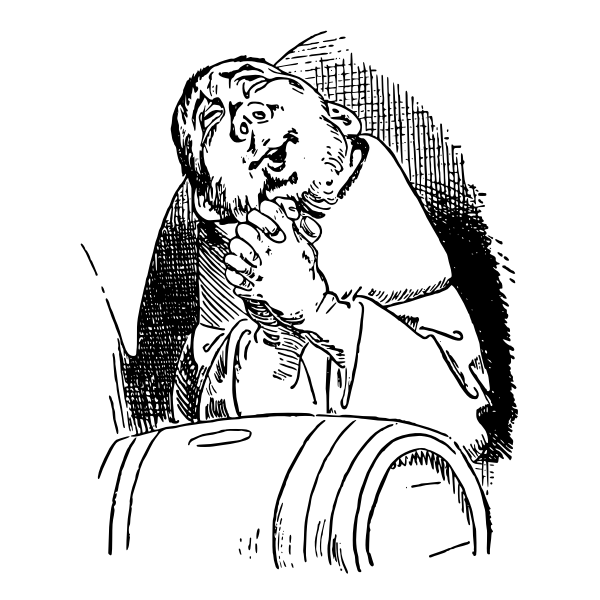 Bald caricature man smiling during prayer vector image