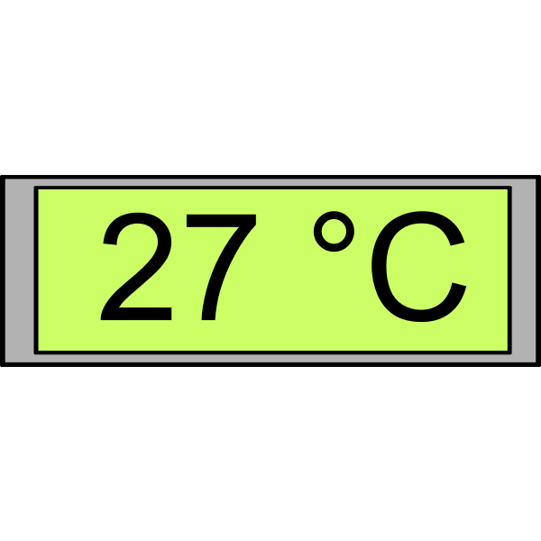 "Digital temperature display ""27 degrees"" vector image"