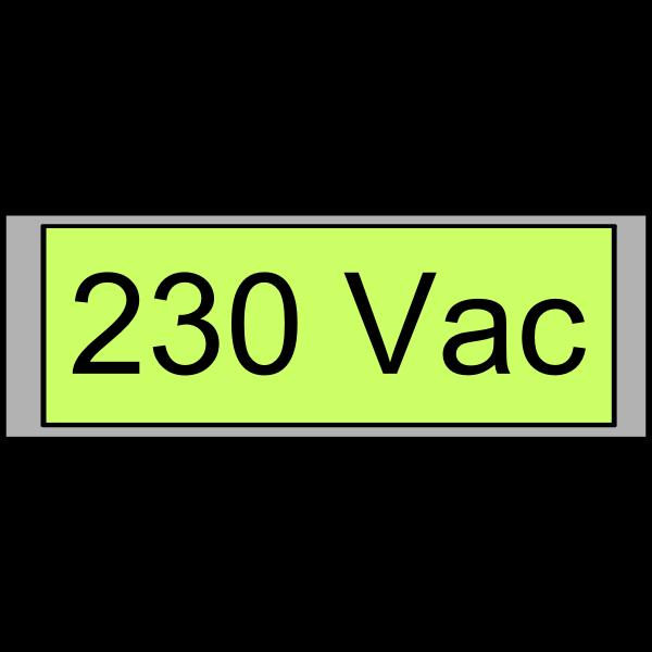 "Digital display ""230 Vac"" vector image"