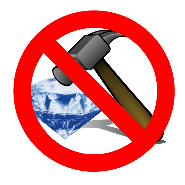 No breaking a diamond with a hammer sign vector illustration
