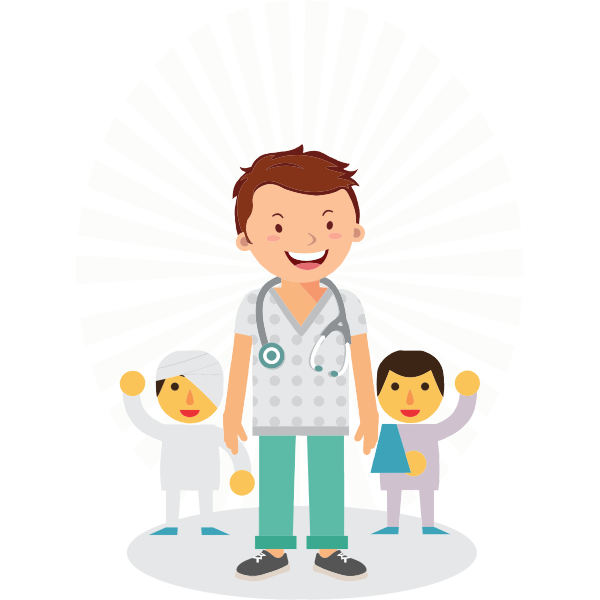 Doctor with small patients