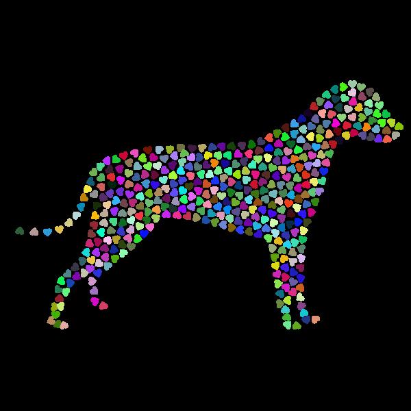 Dog Hearts Silhouette Prismatic