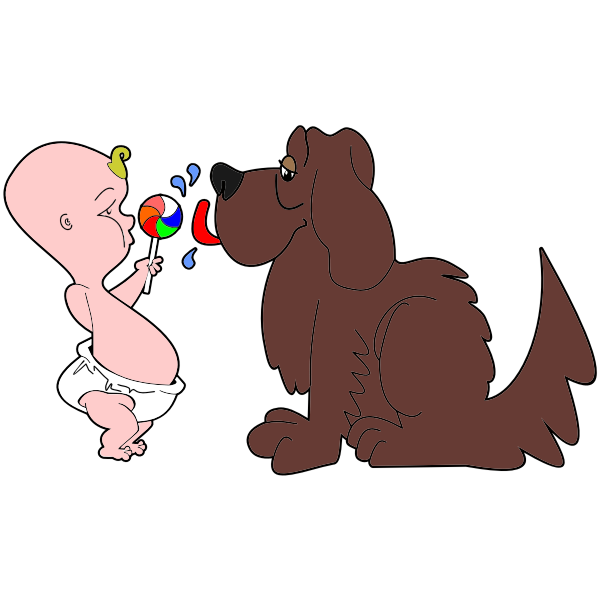 Comic image of a baby and a dog.