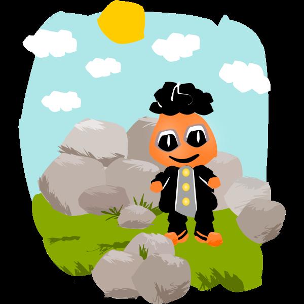 Character between rocks
