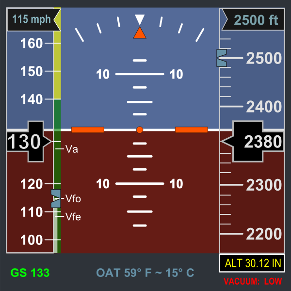 Vector clip art of electronic flight display