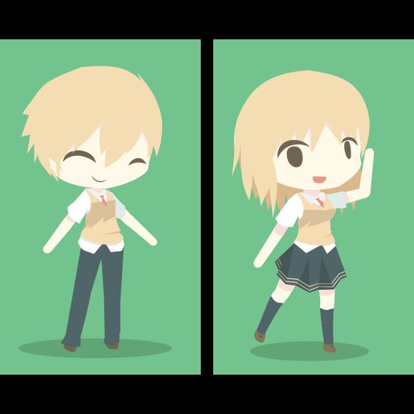 Blond kids dancing
