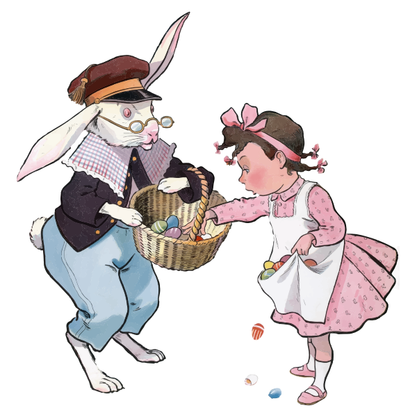 Easter bunny and girl