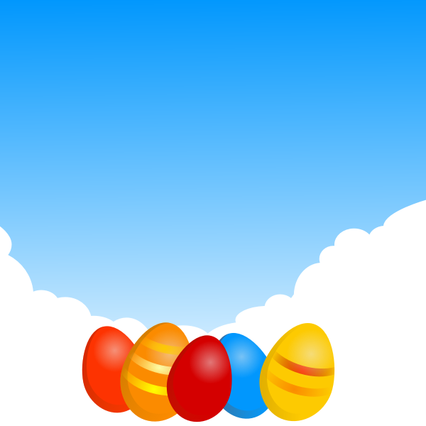 Easter eggs under sky vector image