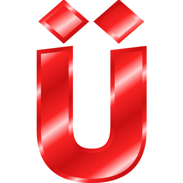 Effect Letters Alphabet red: Ãœ