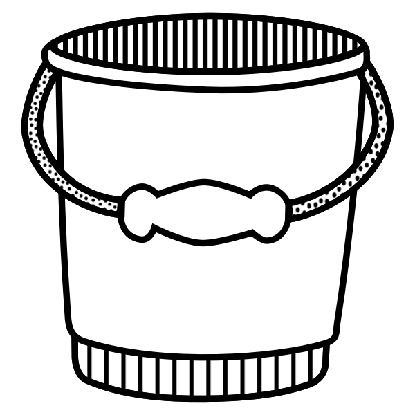 Bucket line art vector illustration