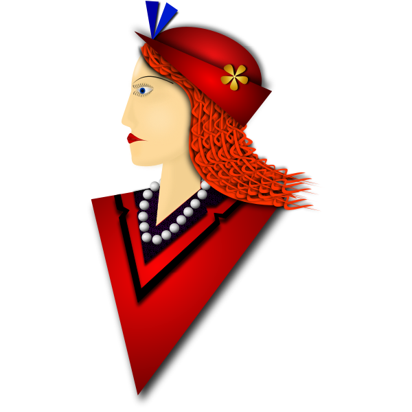 Vector drawing of elegant woman with red hat