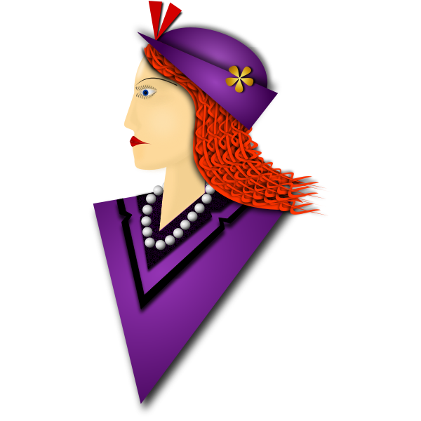 Vector illustration of elegant woman with violet hat
