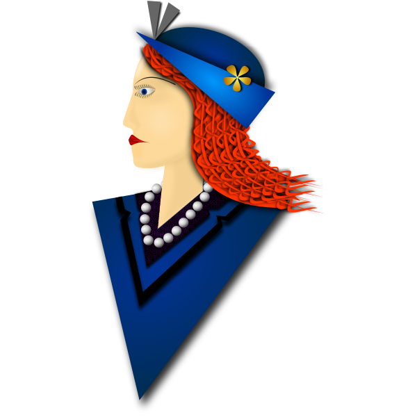 Vector graphics of elegant woman with blue hat