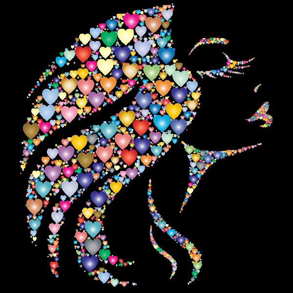 Elegant Woman Hearts Prismatic Pattern Design
