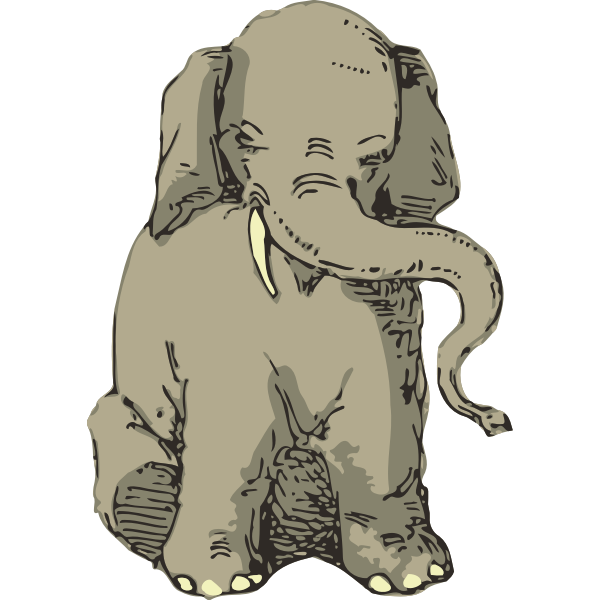 Sitting Elephant Vector Sketch Free Svg