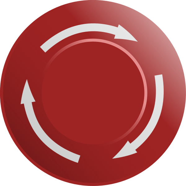 Graphics of red stop button with three arrows