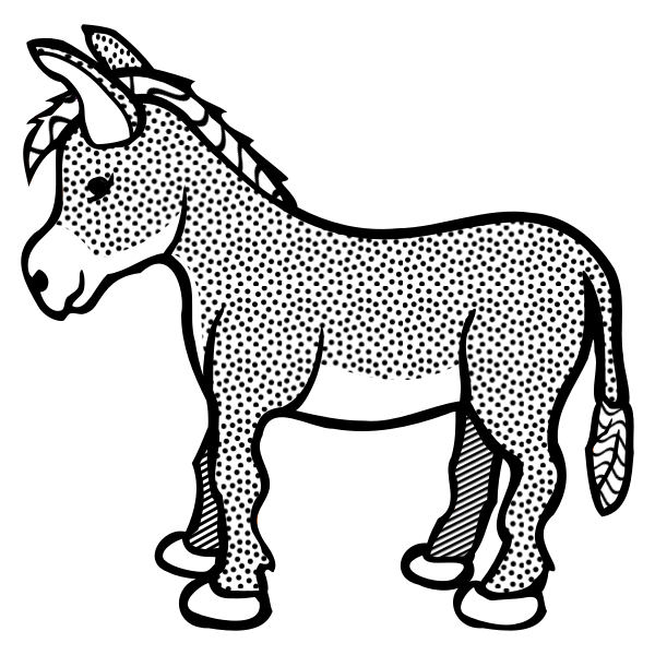 Spotty donkey line art vector clip art
