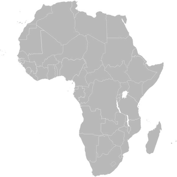 Map of Africa showing Ethiopia vector graphics