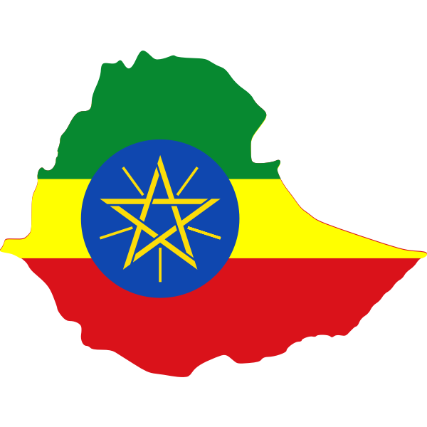 Ethiopian map and flag