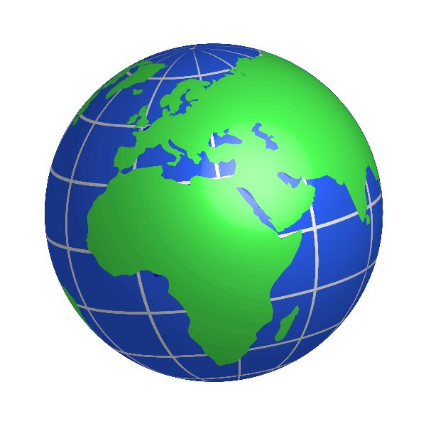 Globe facing Europe, Africa, and Middle East vector drawing