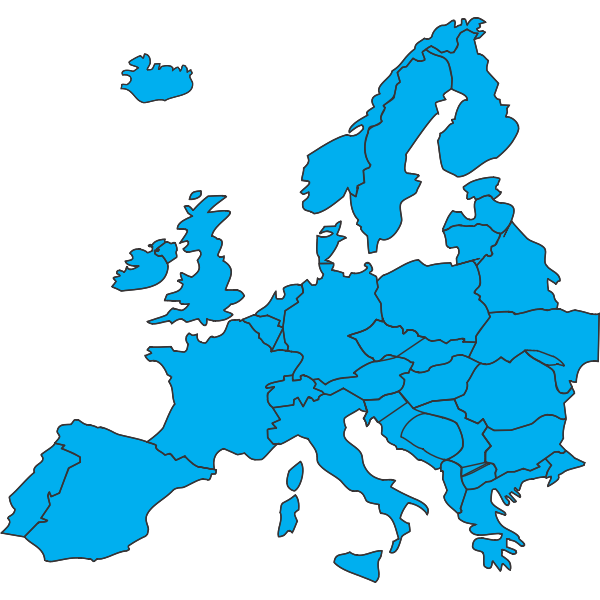 Blue silhouette vector clip art of map of Europe