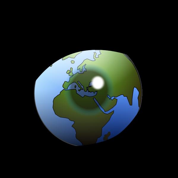 World globe in the eye vector clip art