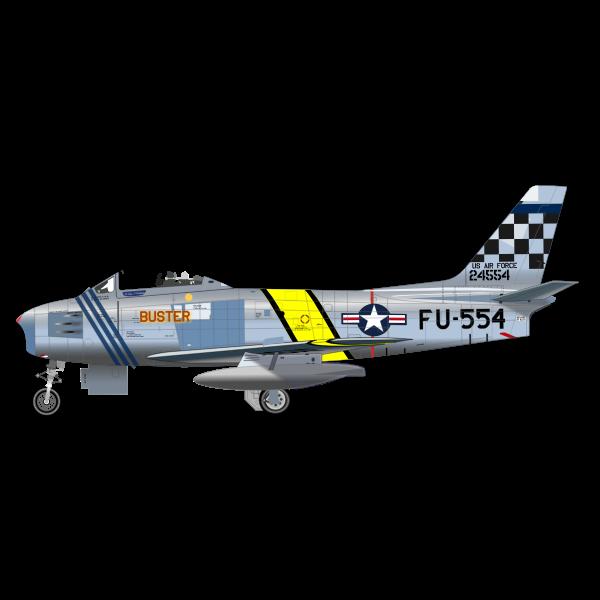 North American F-86 Sabre airplane vector drawing