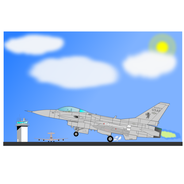 Military airplane F-16 vector