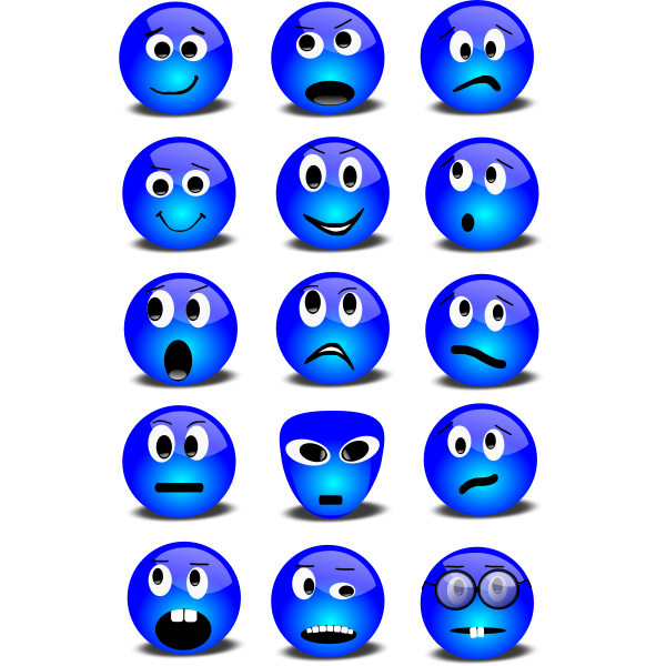 Blue smileys selection