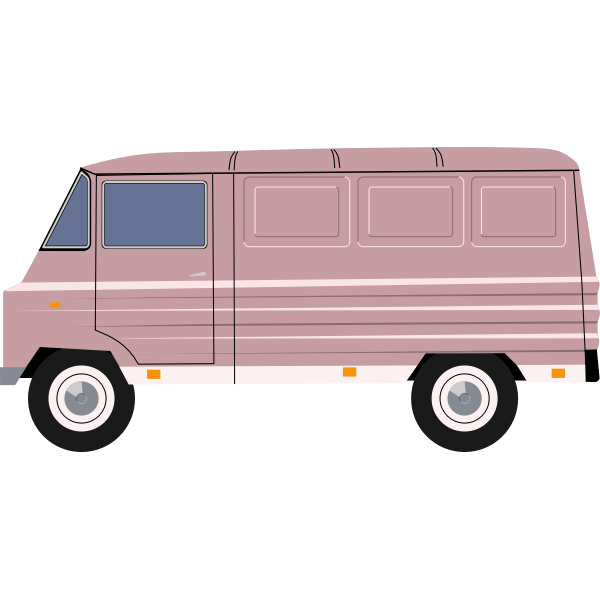 Vector illustration of purple delivery van