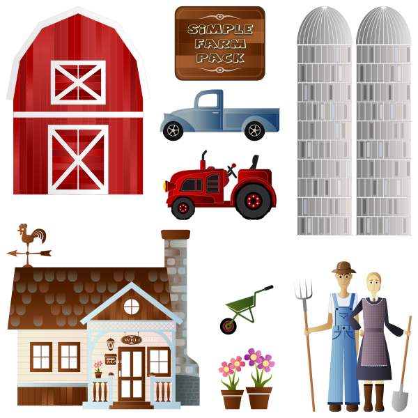 Vector image of farm cartoon pack