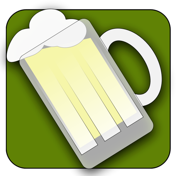 Vector clip art of tilted beer mug icon
