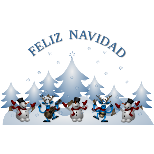 Vector image of Merry Christmas card in Spanish