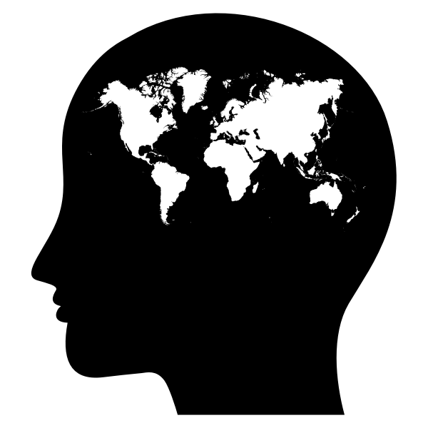 Female brain with world's map