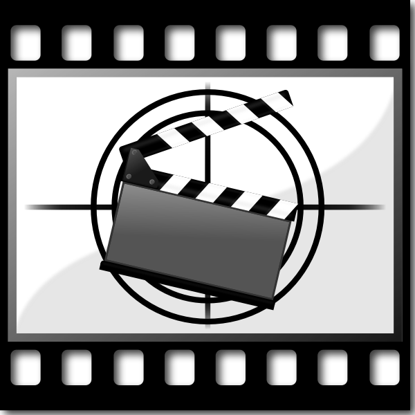 Clapperboard on filmstrip vector image
