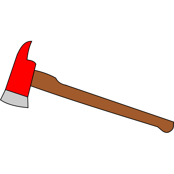Color image of axe used for breaking glass in case of fire.