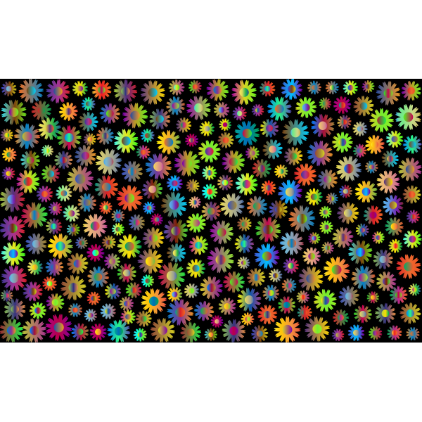 Chromatic flowers and black background