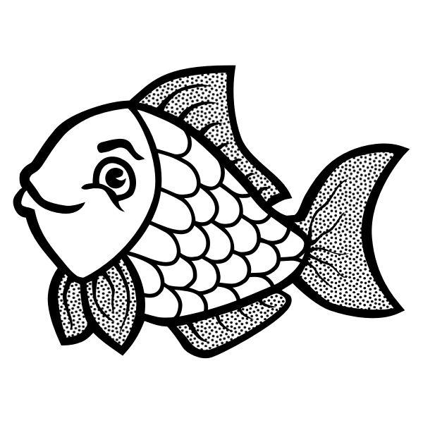 Fish with spots line art vector image