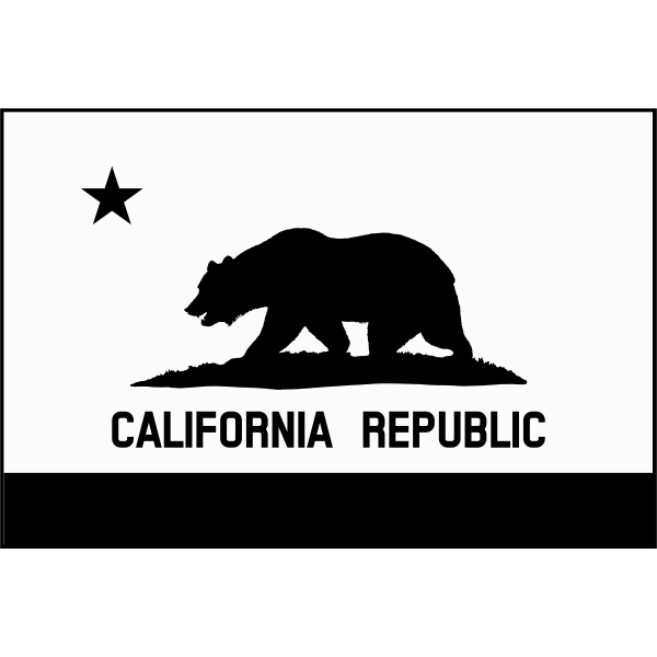 Grayscale flag of California Republic vector image