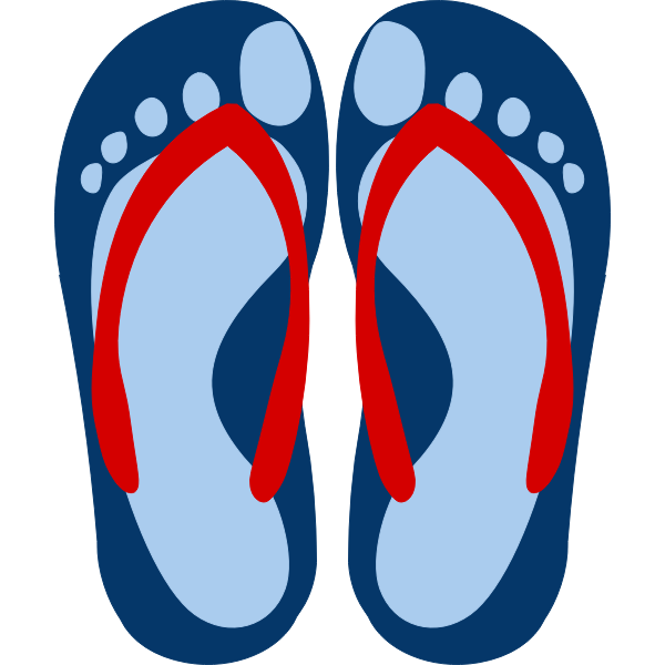 Flip flops with feet imprint vector image