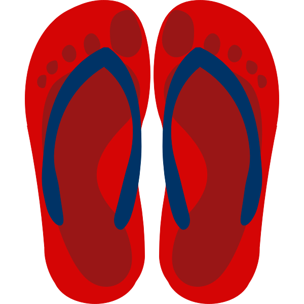 Flip flops with feet imprint vector clip art