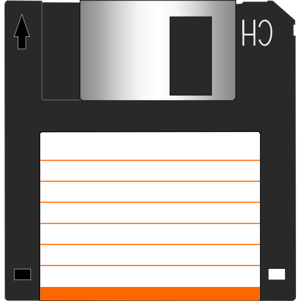 Vector clip art of 3.5 inch floppy disk with label