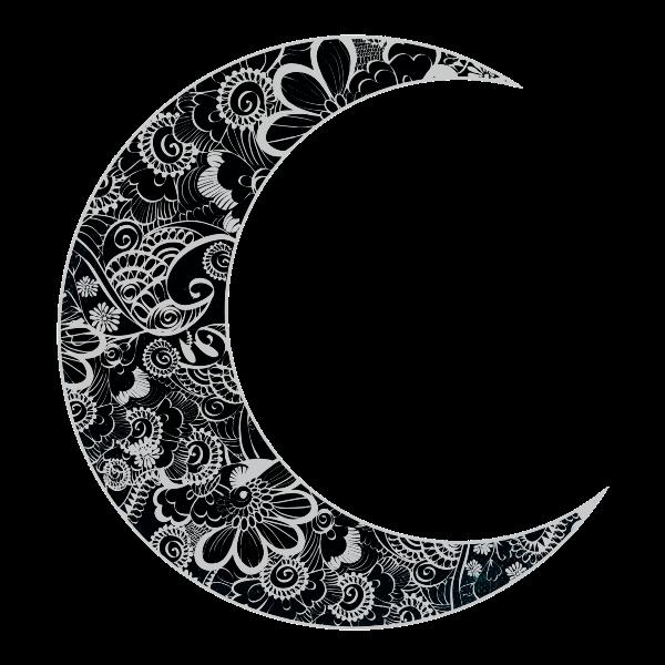 Vector clip art of floral crescent moon
