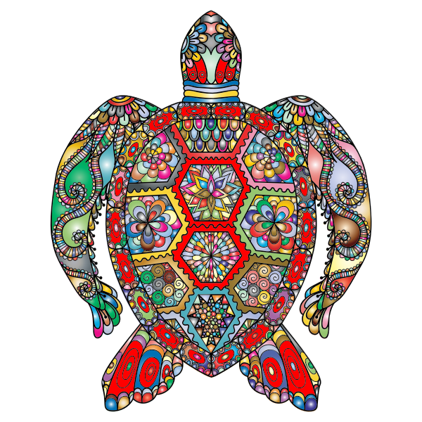 Floral Sea Turtle Line Art Prismatic